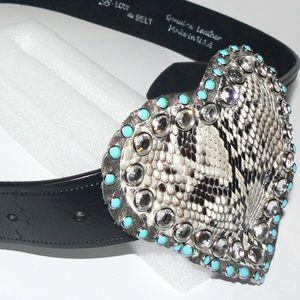 B-LOW the BELT black leather w/snake belt size 36